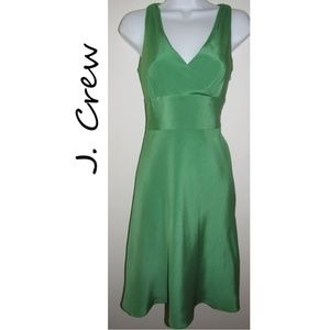 J Crew Green Sophia Dress Silk Tricotine